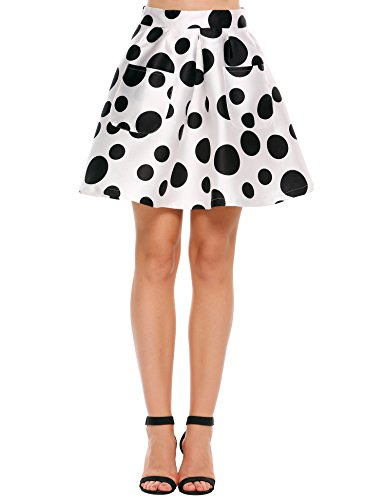 (Zeagoo ZeagooWomen Vintage Skirt Polka Dot Smock Waist Rockabilly Swing Casual Party Skirts, White, Large)