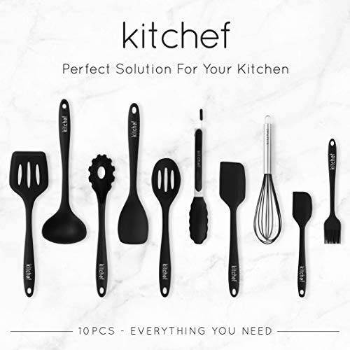 (KITCHEF Silicone Kitchen Cooking Utensils Set [10pcs] Heat Resistant, Non Stick & Stain-Resistance, FDA Approved For Safe Cooking – Durable Material Without Bending or Breaking Cooking Utensil.)