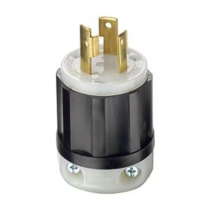 Leviton 2611 30 Amp, 125 Volt, NEMA L5-30P, 2P, 3W, Locking Plug, Industrial Grade, Grounding - Black-White