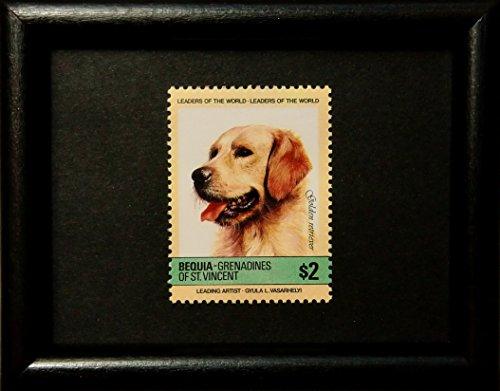 Golden Retriever Dog -Framed Postage Stamp Art 13971