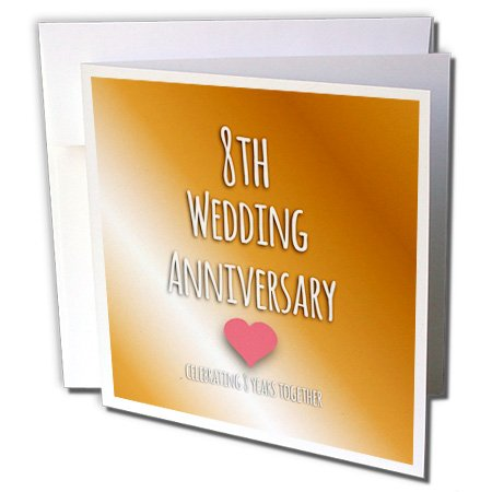 3dRose 8th Wedding Anniversary gift - Bronze celebrating 8 years together eighth anniversaries - Greeting Cards, 6 x 6 inches, set of 6 (gc_154439_1)