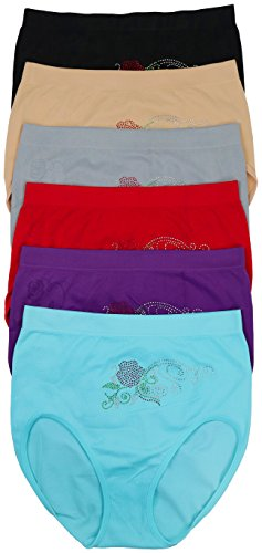 ToBeInStyle Womens Pack Of 6 Plus Size Seamless Flower High Waist Briefs (4X, Rhinestone Rose)