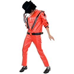 Charades Men's Michael Jackson Thriller Jacket, Red/Black, Large