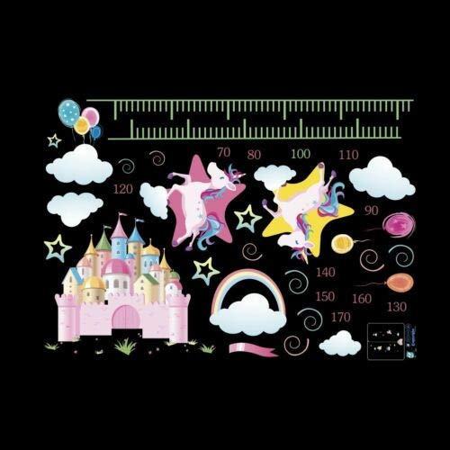 Utopiashi Unicorn Wall Sticker Height Measure Growth Chart Decal for Girls Room Bedroom