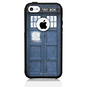 iPhone 5c Case [Black] Tardis Dr Who [Dual Layer] UnnitoTM *1 Year Warranty* Case Protective [Custom] Commuter Protection Cover [Hybrid]
