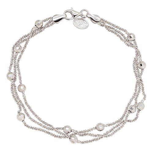 Silpada 'Juliette' Multi-Strand Beaded Station Chain Bracelet in Rhodium-Plated Sterling Silver
