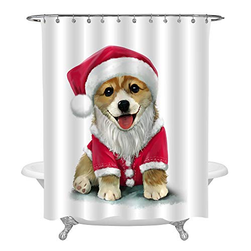 MitoVilla Christmas Dressed Up Corgi Shower Curtain, Watercolor Painting Puppy Bathroom Accessories for Dog Lovers Shower Decorations, Red Brown, 72x84]()