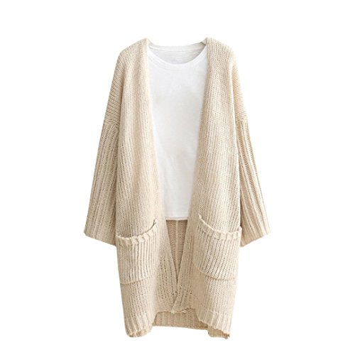 2017Hot!Elevin(TM)Women Autumn Loose Pocket Knitted Sweater Long Cardigan Coat Jacket Outwear (XXL, Beige)