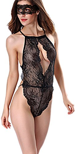 [Womens Sexy Lingerie Teddy Deep V Halter Lace Bodysuit With Eyes Cover (Large, Black2)] (Sexy Valentine Outfit)