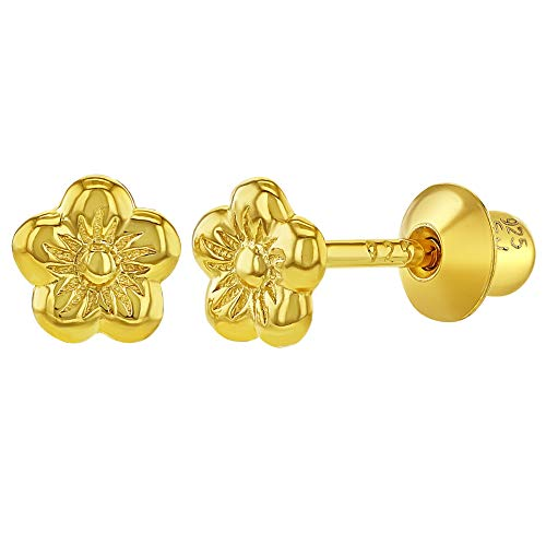 925 Sterling Silver Five Petal Tiny Flower Screw Back Baby Girl Earrings