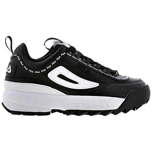 Fila Women's Disruptor II Premium Repeat Sneakers, Black/White, 9.5 M US Black Fila Womens Shoes