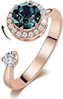 MXIN Rotating Birthstone Rings for Girls Womens Birthday Gifts Embellished with Crystals from Swarovski Ring 18K...