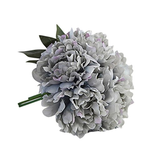 Luweki Artificial Silk Fake Flowers Peony Floral Wedding Bouquet Bridal Hydrangea Decor (One Size, Blue)