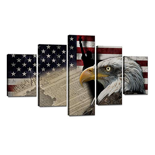 - 5 Piece Large Bald Eagle American Flag Canvas Painting USA Statue of Liberty Flag Wall Art Vintage Poster Patriotic Picture Print Artwork Home Decor for Living Room Framed Ready to Hang (60