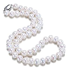 JYX Classic Near-round White Cultured Freshwater Pearl Necklace 18""