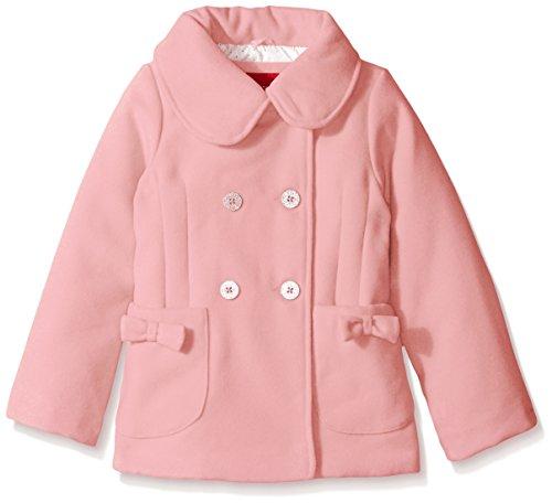 London Fog Little Girls' Bow Pocket Faux Wool Peacoat, Pink, 5/6