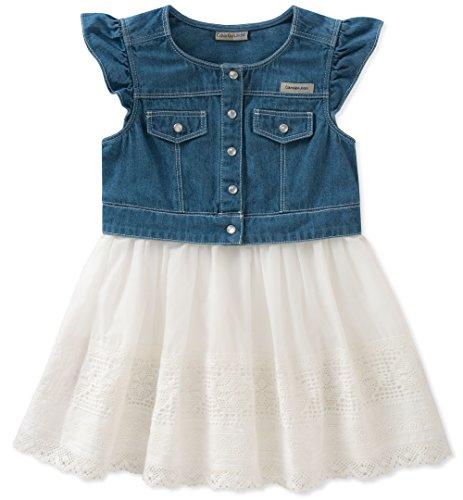 Girls Denim Dresses (Calvin Klein Girls' Little Denim-Mix Fabric Dress, Medium wash/egret,)