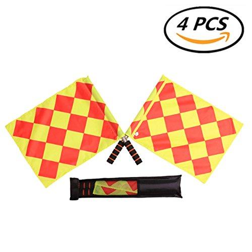 Solvang 4PCS Soccer Football Referee Flags Metal Pole Foam Handle, Football Referee Items