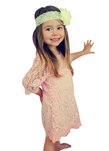 CVERRE Flower Girl Lace Dress Country Dresses with Sleeves 7-16 (Pink, 180)