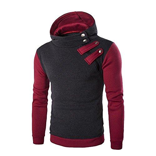 VIASA_ Men Fitted Shirts, Hooded Sweatshirt Tops, Hoodie Zip Jacket Coat Outwear (Dark Gray, L) by VIASA_