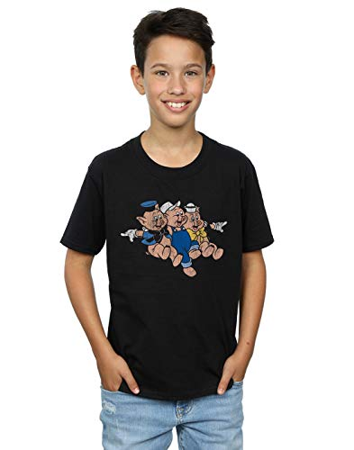 Disney Boys Three Little Pigs Jump T-Shirt Black 9-11 Years