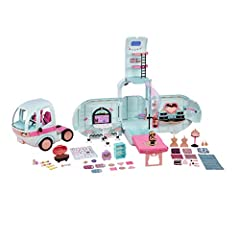 L.O.L. Surprise! 2 in 1 glamper is the first vehicle for your L.O.L. Surprise dolls. The 2 in 1 glamper includes 55+ surprises to unbox, 10+ hangout areas and an exclusive doll. The front detaches to become a separate car with adjustable D.J....