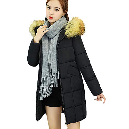 Clearance WuyiMC Women Winter Warm Coat Faux Fur Hooded Thick Warm Slim Jacket Long Overcoat