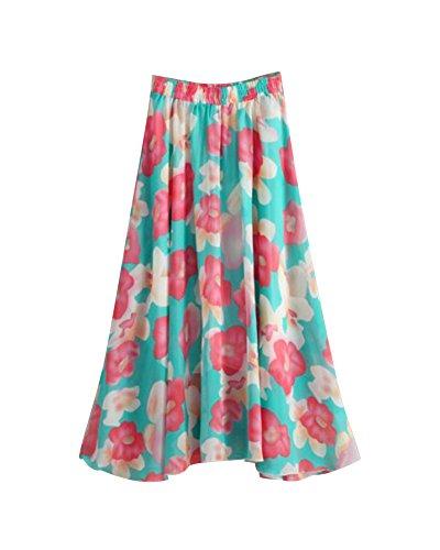 t Taille vas 4 Casual Vacances Grand Plage Bohme Floral Femme Jupe Couleur Mousseline Grande Maxi Pendule Flexible Pliss Jupe Imprim fIqXn7H0