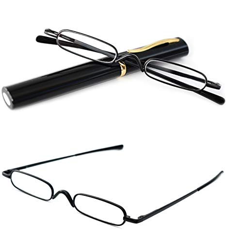 - VEVESMUNDO Reading Glasses Men Women Compact Metal Eyeglasses Eyewear With Case (Black, 2.25)