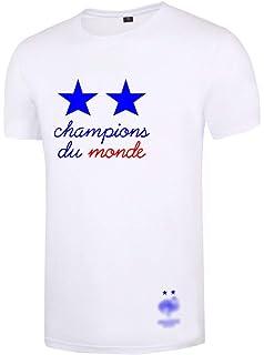 Silver Basic T-Shirt Homme Blanc Noir Manches Courtes Unisex Champions du  Monde Football 2018 7542c938084c
