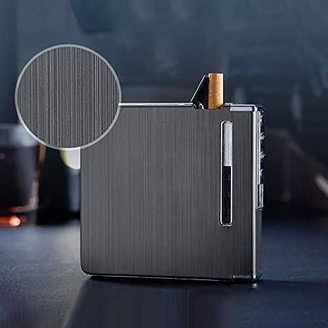 LanLan Regalo di Natale,La Scatola Automatica della Scatola della Sigaretta del Metallo di Alluminio con Gli accendini Antivento Ricaricabili di USB pu/ò Tenere 20 Sigarette Oro Opaco