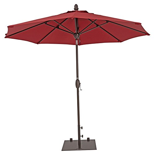 Patio Umbrella - TrueShade Pkus Outdoor Table Patio Umbrella with Push Button Tilt Includes Storage Cover - Freestanding or Table Hole. - 9' Diameter Forest Green