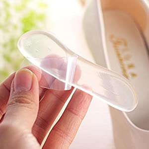 Oksale 3 Pairs Classical Silicone Transparent Cushion Gel Heel Foot Care Shoe Insert Pad Insole