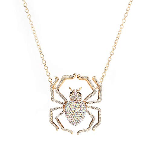 Fvermecky Halloween Rhinestones Spider Pendant Necklace for Women (Gold) ()