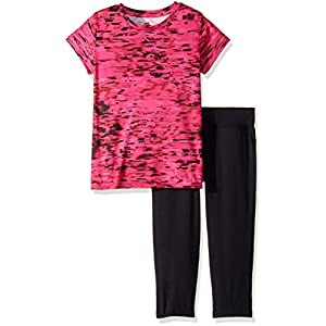 Hanes Big Girls' Sport Performance Tee and Capri Set, EL: Speed Dash/Pink Extreme Capri: Black/Pink Extreme, L