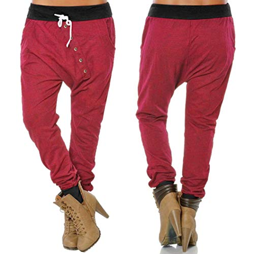 Mujer Pantalones Pantalones Bloomers de Cintura Pantalones CICIYONER de Rojo Botón Harem Alta Hipsters Deportivos wa7AqESx