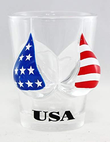 USA Flag Bikini Bust 3D Shot Glass