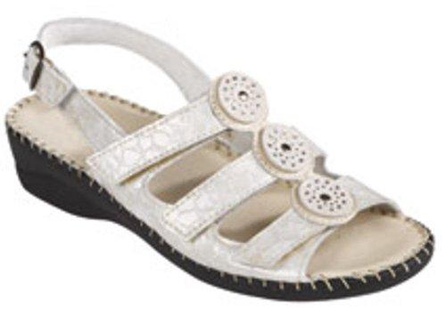 Reptile 4 Sandal - Women's LaPlume, Emerald casual low heel Sandals IVORY REPTILE 4 M