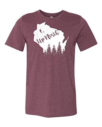 Hometown Hoodies WI Up North Tshirt (M, M, Maroon) - Mens Wisconsin UpNorth Tee
