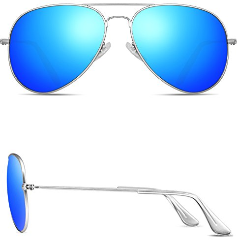 ATTCL Unisex Classic Aviator Driving Polarized Sunglasses For Men Women 1N3026silver-blue
