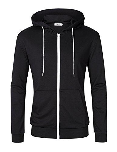 MrWonder Men's Casual Fit Long Sleeve Lightweight Zip Up Pullover Hoodie Sweatshirt With Kanga Pocket Black XL (Black Hoodie Hoody)