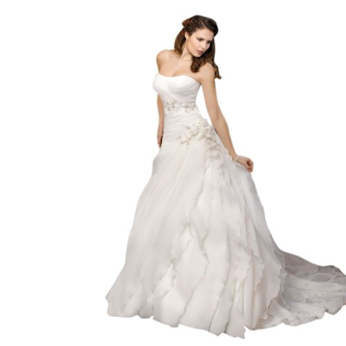 - Dearta Women's A-Line Sweetheart Court Train Organza Dress US 14 White