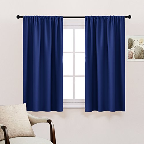 Home Decor Blackout Curtains Panels - PONY DANCE Home Decoration Thermal Insulated Noise Reducing Draperies / Window Treatment for study,42 inch wide by 54 inch drop,Navy Blue,Double Panels (Tiffany Blue Curtain Panels)