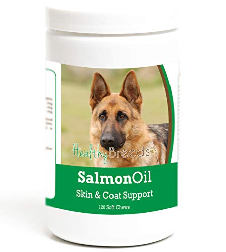Healthy Breeds Dog Omega 3 Fish Oil Soft Chews for German Shepherd, Brown - Over 200 Breeds - Reduce Shedding - Easier Than Capsules & Pumps - 120 Chews