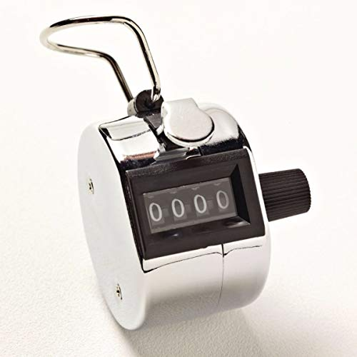 Sammons Preston Individual Hand Tally Counter, Four Digit Tally Device That Clicks to Count and Resets to Zero, Durable Metal Device has Hanging Loop for Key Rings or Lanyards and Easily Fits in Hand