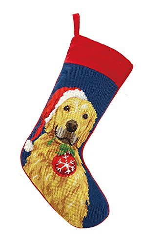 Christmas Golden Retriever Stockings (Peking Handicraft 31SJM7971MC Golden Retriever Ornament Needlepoint Stocking, 11x18)
