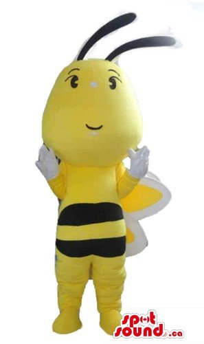 Cute yellow honey bee cartoon character SpotSound Mascot US costume