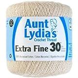 Bulk Buy: Aunt Lydia's Crochet Cotton Crochet Thread Extra Fine Size 30 (3-Pack) Natural 180-226