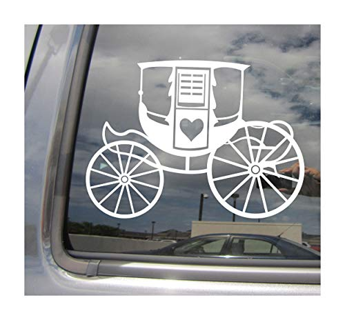 Right Now Decals - Horse Drawn Carriage - Vintage Antique Retro - Cars Trucks Moped Helmet Hard Hat Auto Automotive Craft Laptop Vinyl Decal Window Wall Sticker 10284 ()