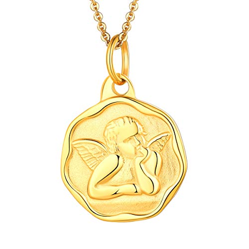 FOCALOOK ラファエル Raphael エンジェル 天使 ネックレス メンズ ゴールド 18金 コイン ペンダント レディース アミュレット アクセサリー
